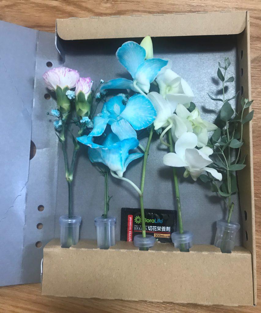 お花が潰れにくい形状の箱